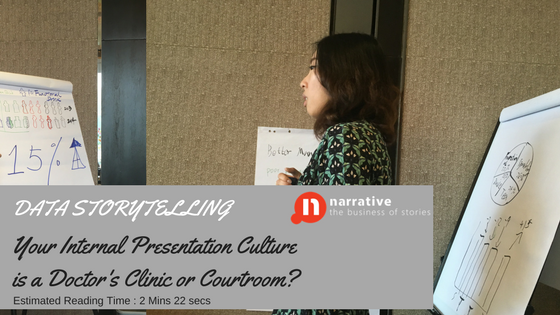 Data Storytelling: Your Internal Presentation Culture is it a Doctor's Clinic or Courtroom?